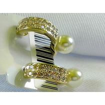 Brinco F Ouro 18k Pérola Micro Zircônia Casamento Bonito Peq