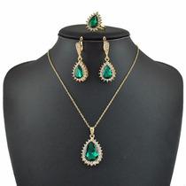 Conjunto Anel Brinco Colar Ouro 18 K Pedra Esmeralda