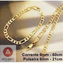 Conjunto Cordão Corrente + Pulseira Figaro 2 Banhos Ouro 18k