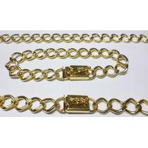 Conjunto Cordão/corrente + Pulseira 10 Mm - Banhada A Ouro