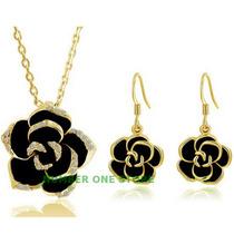 Colar Brincos Rosa Flor Cristais Swarovski Folheado Ouro18k