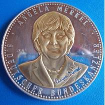 Alemanha-medalha-angela Merkel Prata E Ouro-2005-40 Mm-