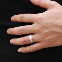 Elegante Par De Anéis De Aço De Titânio Fosco