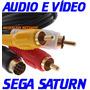 (( Cabo Audio E Vídeo )) P/ Sega Saturn Com Pontas Douradas