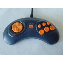 Controle Mega Drive Tectoy 6 Botões Original Azul E Laranja