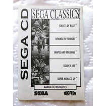 Manual Sega Classics - Tectoy - P/ Sega Cd - Manuais 5 Jogos