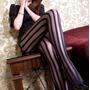Meia Calça Listrada Listras Pretas Transparente Moda