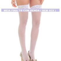 Meia Fina 7/8 Com Renda - Branca (tamanho Único)