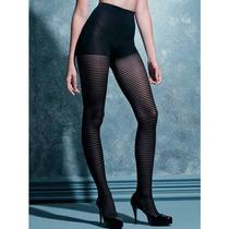 Meia-calça Listrada Preta Scala Fashion Sexy Moda Fio 40