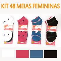 Kit 48 Pares Meia Feminina Soquete Preço Atacado Sapatilha