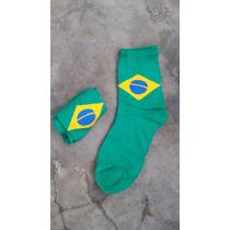 Meia Masculina Brasil - Verde Com Bandeira Do Brasil