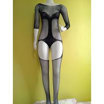 Macacão Arrastão / Renda - - Meia Calça-corpo Fn12129a