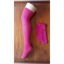 Meia 5/8 Rosa Pink Em Algodão Fashion Sexy Cosplay Inverno