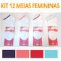 Kit 12 Pares Meia Feminina Soquete Preço Atacado Sapatilha