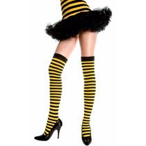Meia 7/8 Listrada Preta Amarela Music Legs Fantasia Abelha