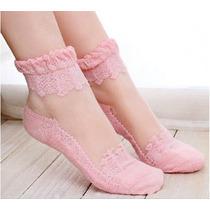 Meia Sapatilha Renda Pijama Fashion Sexy Confortável Rosa