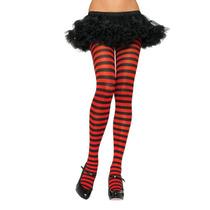 Meia-calça Fashion Listrada Preto E Vermelho Leg Avenue
