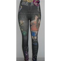 Calça Legging Importada Imitando O Jeans Tatuagem