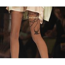 Meia Calça Fio 20 Detalhe Estilo Chanel Tatuada Estilo 7/8
