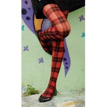 Meia-calça Xadrez Vermelha Inverno Loba Lupo Punk Grunge