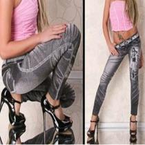 Calça Legging Estilo Jeans Com Desenho Linda