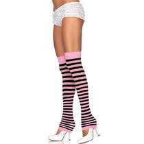 Polaina Listrada Preta E Rosa Leg Avenue Fantasia Pink