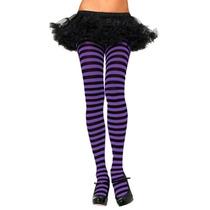 Meia-calça Fashion Listrada Preto E Roxo Leg Avenue Fantasia