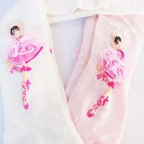 Meia Calça Infantil Com Bordado De Bailarina-tam:2 A 10 Anos