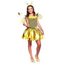 Fantasia Abelha Infantil Vestido C/asas,anteninhas E Varinha