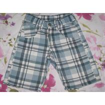 Bermuda Infantil Jeans Xadrez Azul Menino 6 Anos