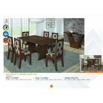 Conjunto Sala De Jantar Elegance Com 6 Cadeiras - Carvalho