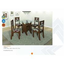Mesa Veneza Com Tampo De Vidro E 4 Cadeiras - Carvalho