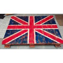 Mesa De Centro Rústica Bandeira Da Inglaterra