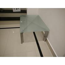 Mesa De Centro Retangular 90x60cm Vidro E Alumínio