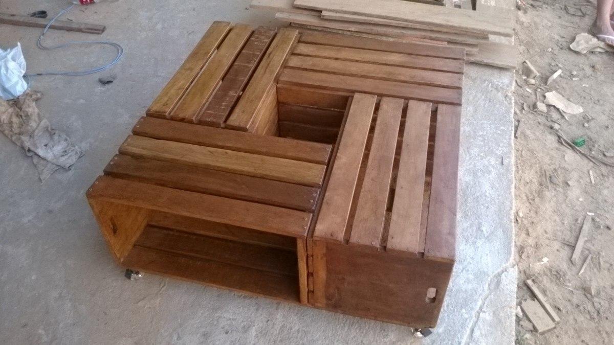 Mesa de centro de caixote em madeira rustica r 500 00 for Mesas de centro rusticas