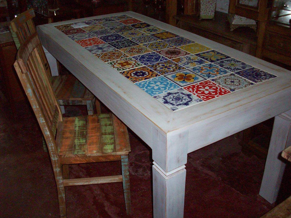 Mesa De Jantar Com Tampo De Azulejo Decorados R$ 2.200 00 no  #66412C 1200x900