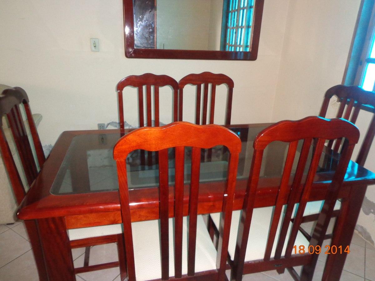 Mesa De Jantar Madeira C Tampo De Vidro 6 Cadeiras R$ 510 00 no  #C0310B 1200x900