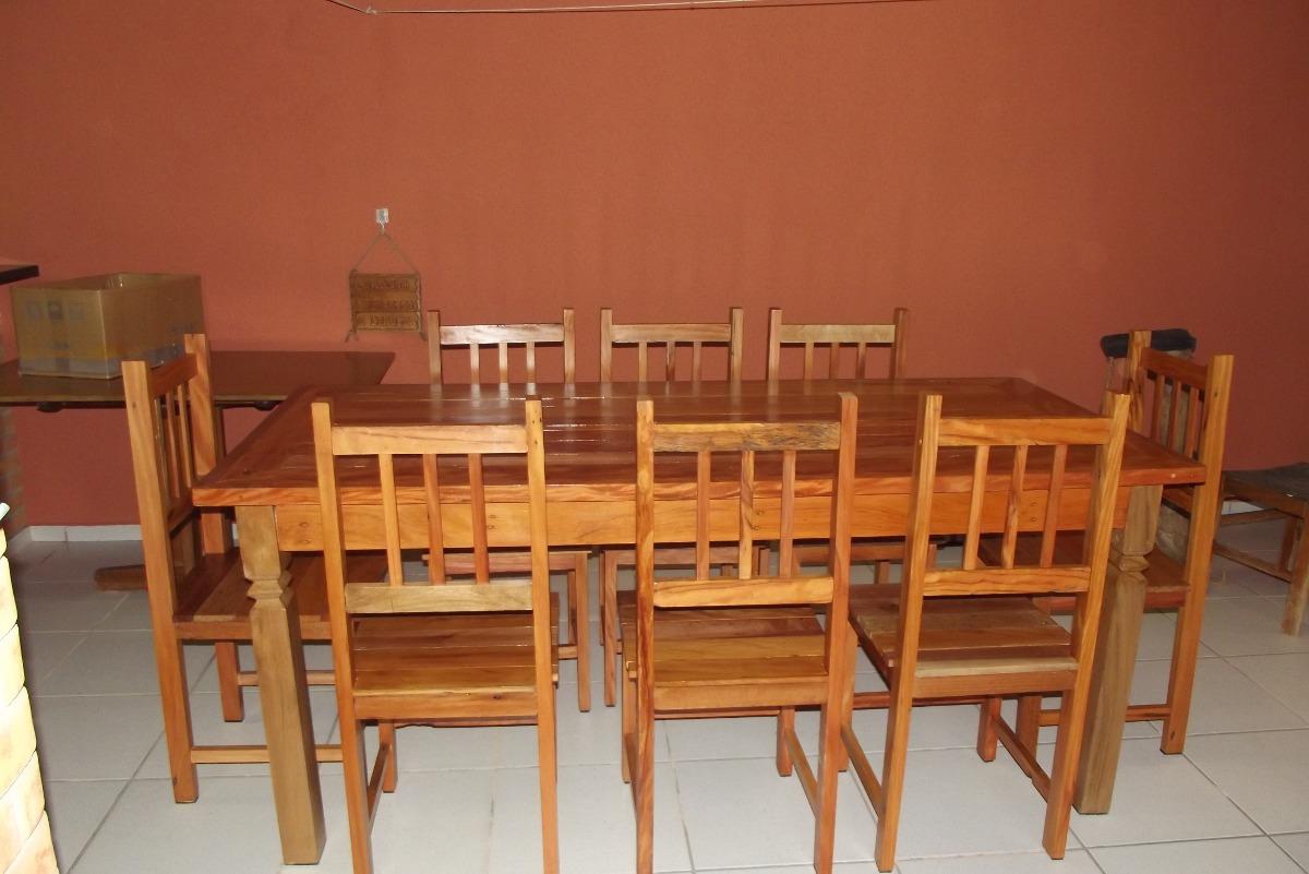 mesa de jantar rustica c 8 cadeiras em madeira de demolico 18695  #B87213 1200x801