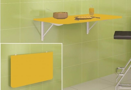 Mesa De Parede Dobrável Amarela Bancada P Cozinha Retratil  R$ 179,00 no Me # Bancada Cozinha Retratil