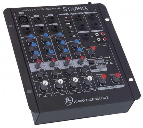 Mesa De Som Mixer 4 Canais Ll C/ Usb Starmix Us402r