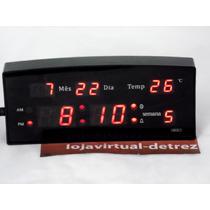Relógio Digital A Led De Mesa Com Despertador E Termômetro