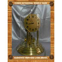 Raro Relógio Antigo De Mesa 400 Dias Kundo Octogonal Lindo