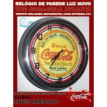 Relógio De Parede Replica Antiga Coca-cola Com Neon 43,18cm
