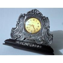 Relógio Despertador Antigo Mesa Jacarandá E Prata Miltrekos