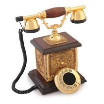 Telefone Pedras Swarovski Folha De Ouro E Madeira (escritóri