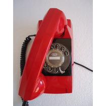 Telefone De Parede Vermelho Tijolinho Antigo Disco Gte Retro