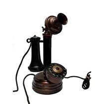 Telefone Antigo Em Madeira De Mesa - Castiçal