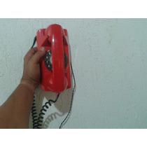 Telefone Antigo Tijolinho De Discar Vermelho Funcionando