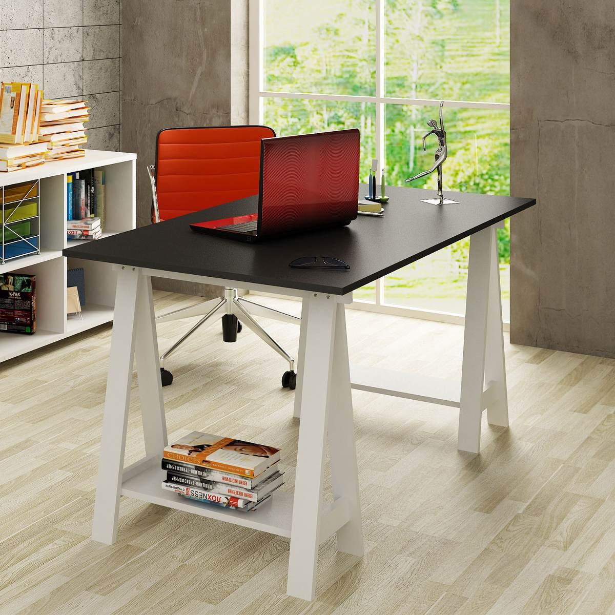 mesa escrivaninha cavalete em mdf uvim 14146 MLB3954676148 032013 F  #B52B0D 1200x1200