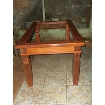 Mesa De Jantar Em Madeira Rustica Com Tampo Para Vidro